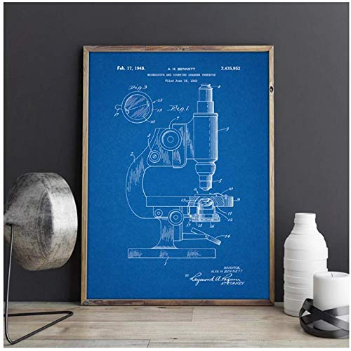 FUXUERUI Microscope Microscope Wall Art Print Chemistry Posters Science Room Wall Decor Vintage Blueprint Canvas Painting Pictures 50X65cm Unframed
