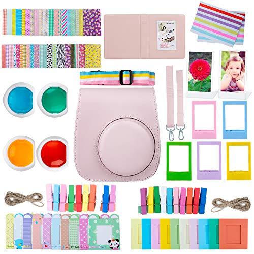 ZWOOS 10 en 1 Accesorios Compatible con Instax Mini 11, Incluida Funda para cámara, álbum y Otros Artículos para Recopilar y Mostrar Fotos (Blush Pink)