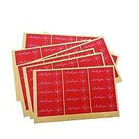 150pcs /ロットレッドサンキューボウ長方形手作りシールステッカークラフト紙ケーキ包装バレンタインデーギフトステーショナリーステッカー