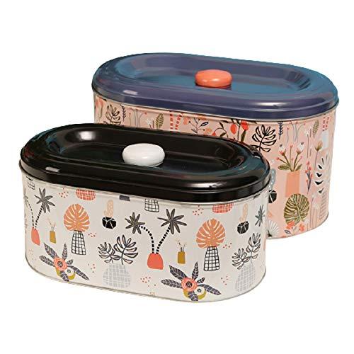 Bonita Caja de Almacenamiento de hojalata, Grandes bocadillos, Dulces, Galletas, Caja de café, Soporte, Organizador para el hogar, café, azúcar, Recipiente para té