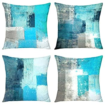 Alricc Teal Throw Pillow Cover,Pack of 4 Soft Velvet Decorative Cushion Cover for Sofa Bedroom Living Room  18X18 inch,Teal