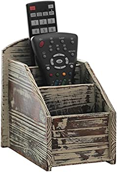 MyGift Rustic Torched Wood 3-Slot Remote Control Holder