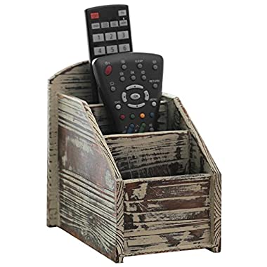 3 Slot Rustic Torched Wood Remote Control Caddy/Media Organizer, Office Supply Storage Rack