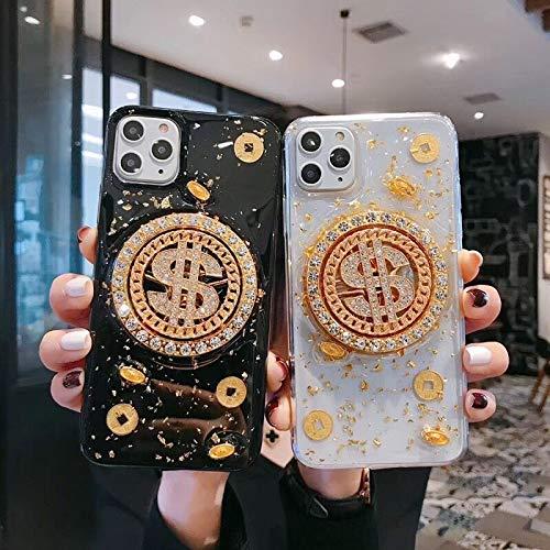 YABAISHI El Tiempo de Lujo Viene a Ejecutar dólares estadounidenses iPhone11pro MAX Mobile Phone Case Apple 8 / 7plus Epoxy Drop XR (Color : Black Bottom, Size : Apple X)