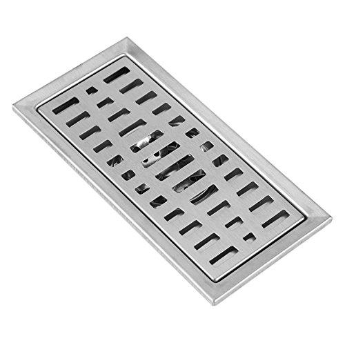 Fdit Lineare Duschablauf Rechteck Bodenablauf Bad Dusche Küche Abfall Rost Haarsieb Edelstahl 20x10cm