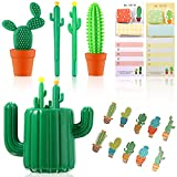 17 Pieces Cactus Pen Holder Cute Cool Cactus Ballpoint Pens Stationery Set Include Pen Holder, Cactus Clip, Sticky Notes Ballpoint Pen Office School Home Supply