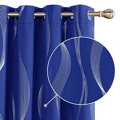 Deconovo Cortina opaca con estampado térmico para salón, 175 x 140 cm, color azul real, juego de 2 unidades