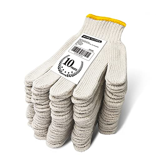 EvridWear Cotton Polyester String Knit Light Work Gloves for Mechanic Industrial Warehouse Gardening Construction Men & Women 10 Pairs (White, Small)