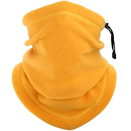 YOSUNPING Windproof Fleece Neck Gaiter Warmer Face Scarves Mask for Cold Weather Winter Keep Warm Scarf Wrap for Ski Snowboard Motorbike Cycling Camping Hiking Fishing Men Women Yellow