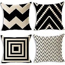 Juego de 4 fundas de cojín decorativas tronisky de 45 x 45 cm, de algodón y lino, para el sofá, el coche o el dormitorio, decoración para el hogar