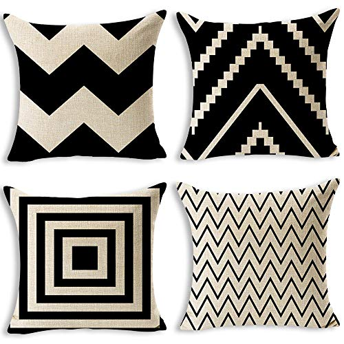 tronisky Juego de 4 fundas de cojín decorativas de algodón y lino, diseño geométrico, 45 x 45 cm (negro y beige)