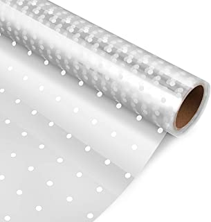 STOBOK Clear Cellophane Wrap Roll,White Dot Florist Paper Wrapper 15.7 inch x100 Ft Crystal Long Film Gift Wrappings Packing Paper for Flowers Craft Basket Bouquet Fruit Food