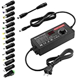 SHNITPWR 4V - 12V Power Supply 10A 120W AC to DC Adapter DC 4V 4.5V 5V 6V 7V 8V 9V 10V 11V 12V Voltage Adjustable Universal Power Converter Transformer 100-240V AC In with 14 Tips & Polarity Converter