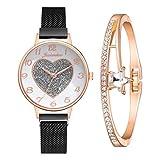 Relojes Para Mujer Patrón De Forma De Corazón Relojes De Mujer Pulsera Set Magnético Cinturón Rhinestone Ladies Wristwatch Girls Quartz Rose Gold Clock Reloj Relojes Decorativos Casuales Para Niñas Da