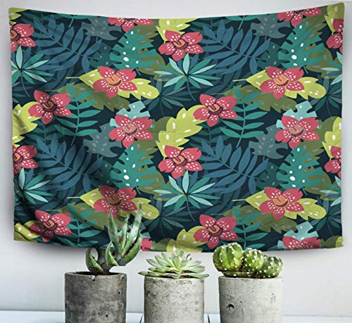 Easter Home Art Decor Wall Hanging Tapestry Flowers Paradise Hibiscus Plumeria Palm Leaves in The Jungle Abstract Color Beach withfor Living Room Dorm Background Tapestries