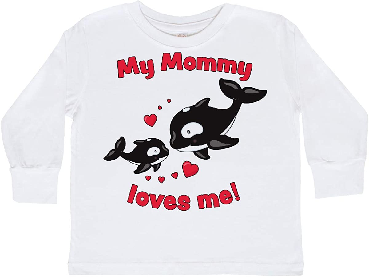 inktastic My Mommy Loves Me- Orca Baby Toddler Long Sleeve T-Shirt
