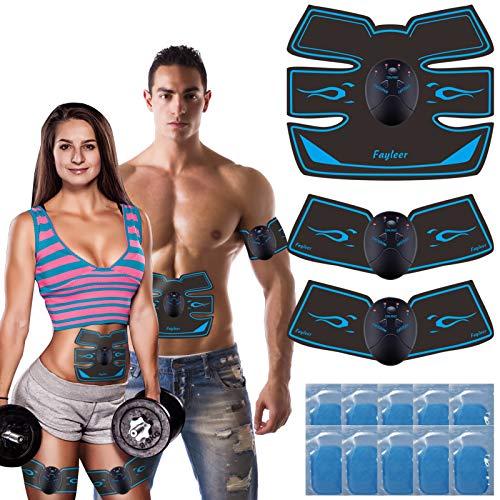 fayleer Bauchmuskeltrainer Elektrisch EMS Trainingsgerät Muskelstimulator für Bauch Arme Taille Beine Hüften Muskelstimulation für Herren Damen zur Muskelaufbau und Fettverbrennung mit 20PC Gel Pad