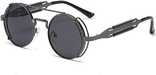 UKKD - Gafas De Sol Moda Redonda Steampunk Gafas De Sol Hombres Mujeres Vintage Gótico Metal Marco Gafas De Sol para Hombre Uv400-Gun Black