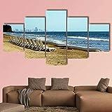 QQQAA Cinco módulos Pinturas Decorativas Relajarse en la Playa de Cartagena de Indias Cuadro en Lienzo 5 Piezas Material Tejido Impresión Gráfica Sala de Estar Arte de la Pared
