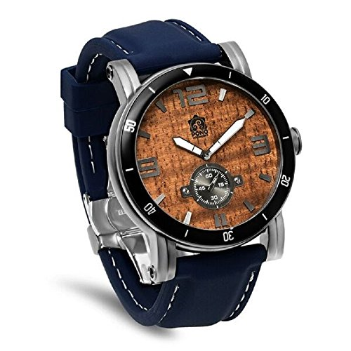 'The Waterman' Hawaiian Koa Wood Watch (47mm, Gunmetal, Navy Silicone Band)