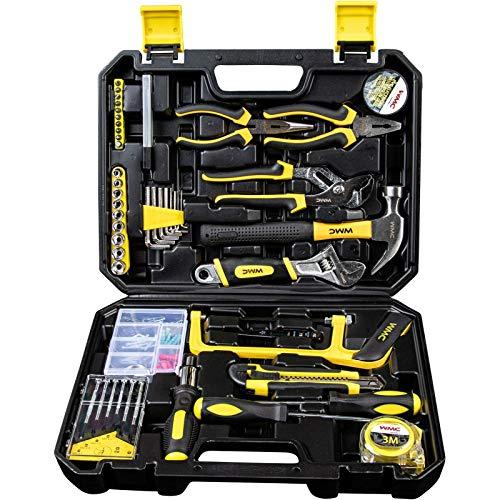 WMC TOOLS Werkzeug Set gefüllt 100 teilig Werkzeugkoffer bestückt Werkzeug komplett mit Nuss Zangen Säge Schraubendreher und viel mehr Werkzeugset Haushalt