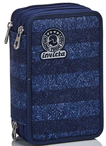 Astuccio 3 Scomparti Invicta , Stripes, Blu, Completo di matite, penne, pennarelli…