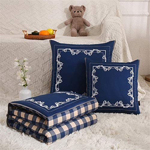 Travel Blanket and Pillow Simple Cotton Embroidered Pillow Quilt Multifunctional Car Cushion Folding Pillow Quilt Dual-use 50x50cm PremiSoft 2 in 1 Airplane Blanket ( Color : Blue2 , Size : 50x50cm )