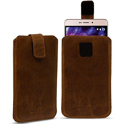 Leder Tasche für Medion Life Smartphone Handy Hülle Cover Pull Tab Lederhülle , Farbe:dunkel Braun;Smartphone:Medion Life E4504