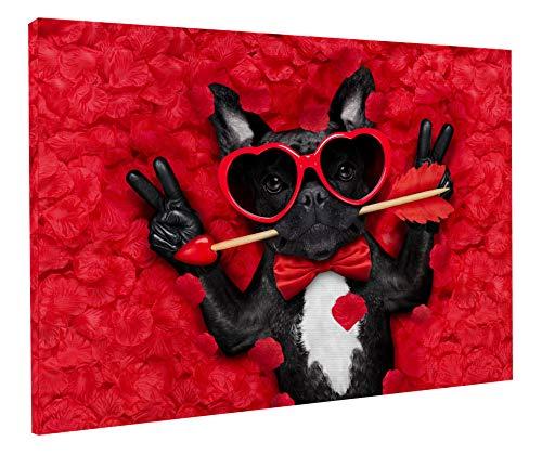 REITANO GROUP Stampa su Tela Quadro Tema Cane Cucciolo Bulldog Francese Rose 50 x 70 cm con Telaio in Legno Made in Italy Fatto artigianalmente casa Negozio arredo T158