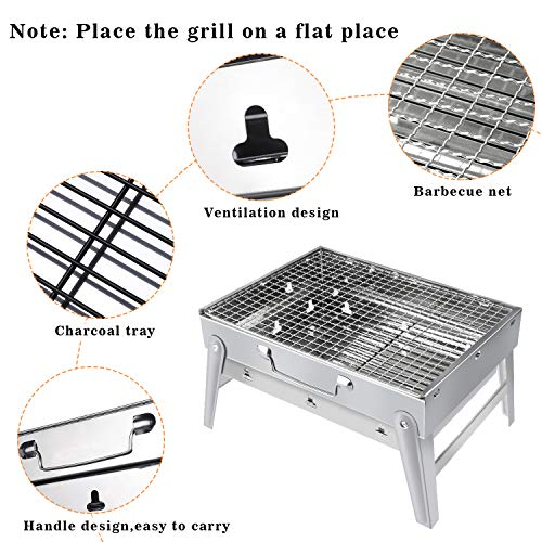 513xva7q4kL - Gifort Portable Grill, BBQ Holzkohlegrill Tragbar Mini Grill Rostfreier Stahl Faltbare Mini Holzkohlegrill BBQ für Outdoor Garten Camping Party Beach Barbecue