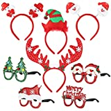 Christmas Fancy Dress Headbands con Gafas Set Photo Booth Atrezzo para Niños Fiestas Navideñas - 4pcs Headbands + 4Pcs Eyeglasses