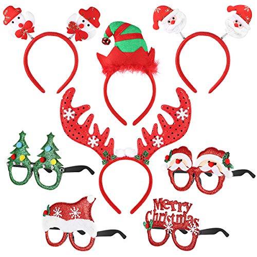 Toyvian Weihnachten Stirnbänder Sonnenbrillen Weihnachten Neuheit Party Dekoration Rentier Haarbänder Santa Weihnachten Haarschmuck, für Kinder Erwachsene 8er Pack (style1)