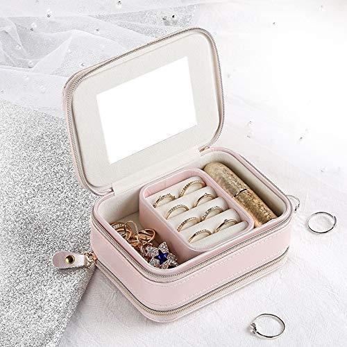 Joyero portátil de Viaje Simple con Cremallera Pendientes de botón Caja de Almacenamiento de Joyas Bolso de joyería Multifuncional PU