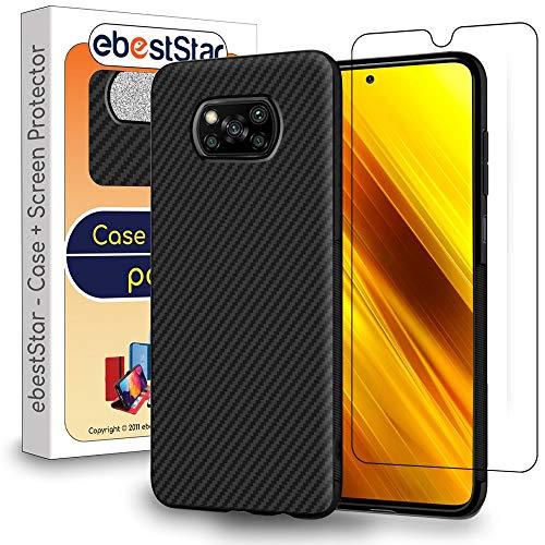 ebestStar - kompatibel mit Xiaomi Poco X3 NFC Hülle Kohlenstoff Design Schutzhülle, TPU Handyhülle Flex Silikon Hülle, Schwarz + Panzerglas Schutzfolie [Phone: 165.3 x 76.8 x 9.4 mm, 6.7'']