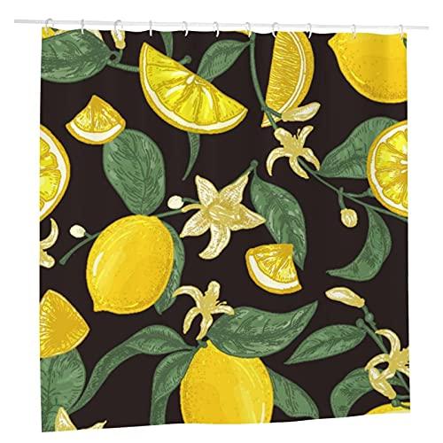 Duschvorhang, naturfarben, nahtlos, gemustert, saftig, Zitronen, für Badezimmer, Stoff, 183 x 183 cm, wasserdicht, wiederverwendbar, Sets