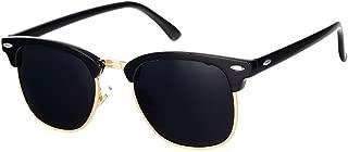 Classic Semi Rimless Polarized Sunglasses with Metal Rivets