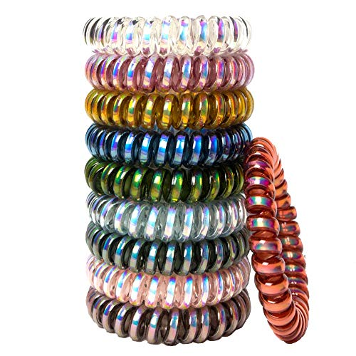 10 Pcs Spiral Hair Ties No Crease, Colorful Traceless Hair Ties, Elastic Coil Hair Ties, Phone Cord Hair Ties, Waterproof Hair Coils for Women Girls, Multicolor (Color B)
