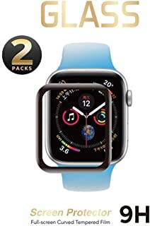 SNSIR Screen Protector 40mm for Apple Watch Series 4 [2 Pack] [Tempered Glass] Full Coverage Protective Foil 9H 2.5D (Black 40mm)