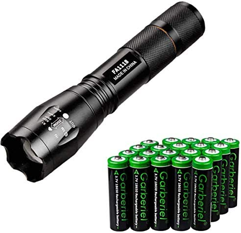Jisell LED 800 Lumens 18650 Flashlight with 20 Pcs 3 7V Rechargeable Battery Ultra Bright Adjustable product image