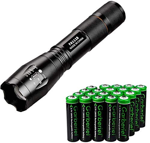 Jisell LED 800 Lumens 18650 Flashlight with 20 Pcs 3.7V Rechargeable Battery,Ultra Bright Adjustable Focus,3 Modes Torch for Hiking Camping Outdoor Emergency Use