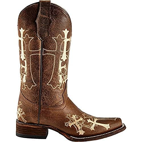 Corral Boots Women's Circle G Cross Embroidered Square Toe Western Brown Leather Boots 7.5 B(M) US