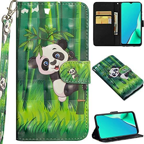 C/N DodoBuy Hülle für Motorola Moto G8 Power, 3D Flip PU Leder Schutzhülle Handy Tasche Wallet Hülle Cover Ständer mit Trageschlaufe Magnetverschluss - Panda Bambus