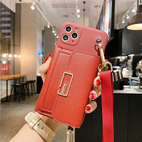 GGOIl Funda de teléfono Suave con cordón de Cadena de Billetera de Cuero clásico Retro para iPhone 12 11 Pro XS MAX XR X 6 7 8 Plus para Samsung S8 S9 S10 A51, Rojo Vino, para iPhone 11pro