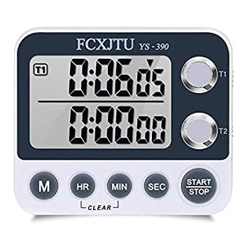 FCXJTU Digital Dual Kitchen Timer Dual Count UP/Down Timer Cooking Timer Stopwatch Large Display Adjustable Volume Alarm and Flashing Light with Magnetic Back Stand Battery Included  White