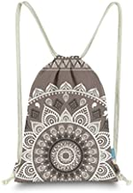 Miomao Drawstring Backpack Gym Sack Pack Mandala Style String Bag With Pocket Canvas Sinch Sack Sport Cinch Pack Christmas Gift Bags Beach Rucksack 13 X 18 Inches Coffee