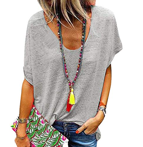 Camiseta Escote V Mujer Camisetas Cuello V Manga Corta Mujeres Basicas Oversize...