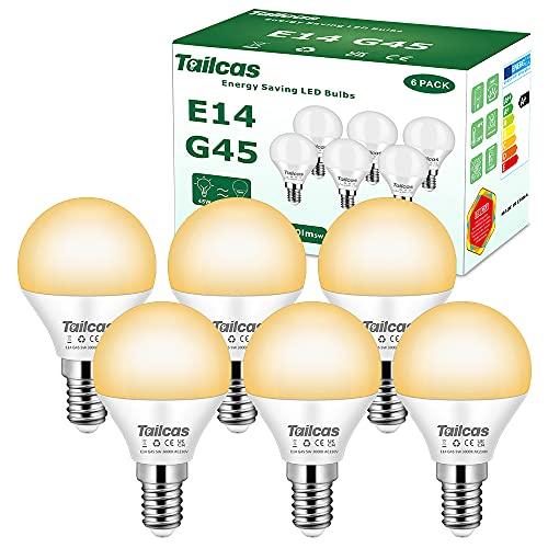 Bombilla LED E14, 5 W, P45, forma de gota (equivalente a una bombilla de 45 W), 3000 K, blanco cálido, 450 lúmenes, bombilla E14, no regulable, ángulo de haz de 200°, 6 unidades