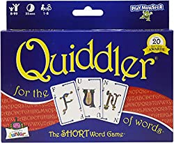 Quiddler word board game box with letter cards