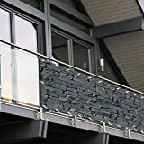 Balkon Sichtschutz PVC | 90x600 cm | Extra Blickdicht | Wetterfest | mit UV-Schutz | Deko für...