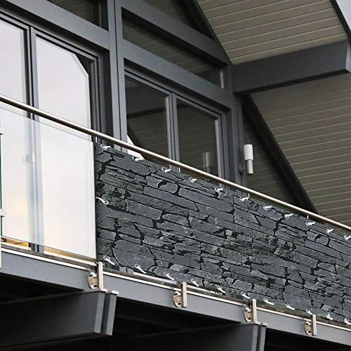 Balkon Sichtschutz PVC | 90x600 cm | Extra Blickdicht | Wetterfest | mit UV-Schutz | Deko für Balkongeländer | 6 Farben & Designs (Schiefer)